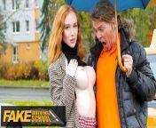 FakeDrivingSchool Hot British Redhead Lenina Crowne Sex in a Car from premary school sex